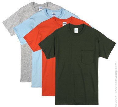 Assorted Colors| Adult Pocket T-Shirt