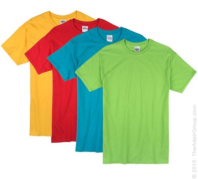 Bright color adult t shirts the adair group for Personalized t shirts for kids cheap