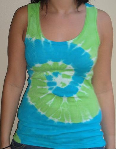 Womens Tie Dye Tank Top (Turq/Green)