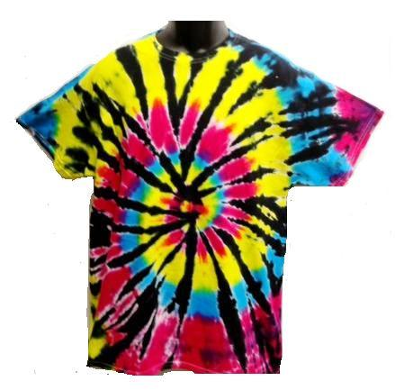 Adult Tie Dye T-Shirt (Black Rainbow)