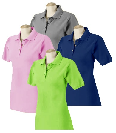 Ladies Pique Knit Polo Shirt - (Assorted Colors)