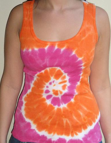 Womens Tie Dye Tank Top (Orange/Pink)