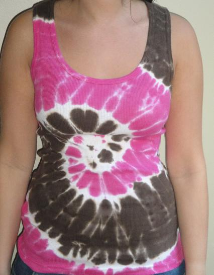 Womens Tie Dye Tank Top (Pink/Brown)