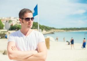man with v-neck white tshirt