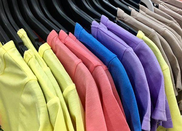 wholesale t-shirts on the rack