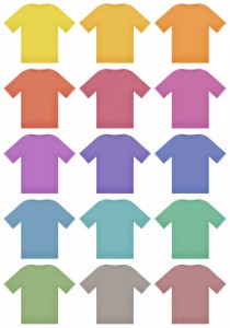 Multiple colored shirt illustrations