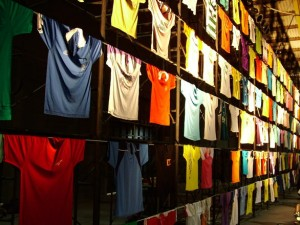 Wall filled with cheap t-shirts