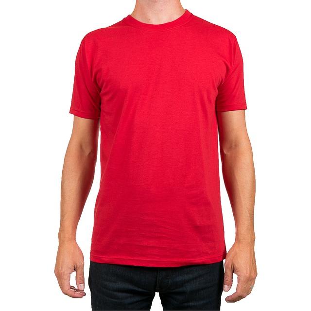 Man wearing red crewneck t-shirt