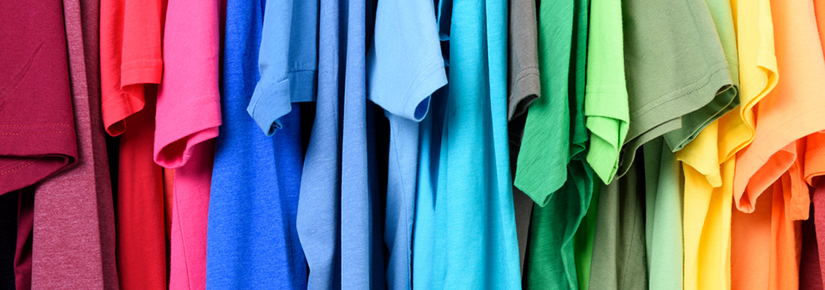 Colorful t shirts hanging