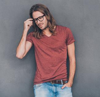 man in casual wear t shirt