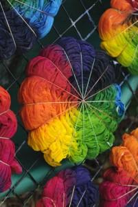 making spiral tie dye shirts