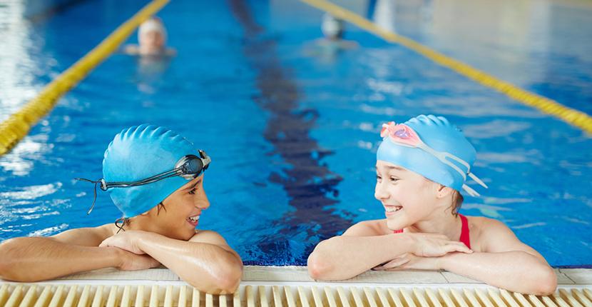 two children on swim team