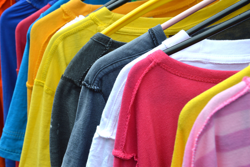 t shirts drying on hangers