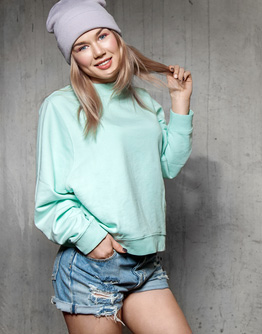 young woman in blank sweatshirt
