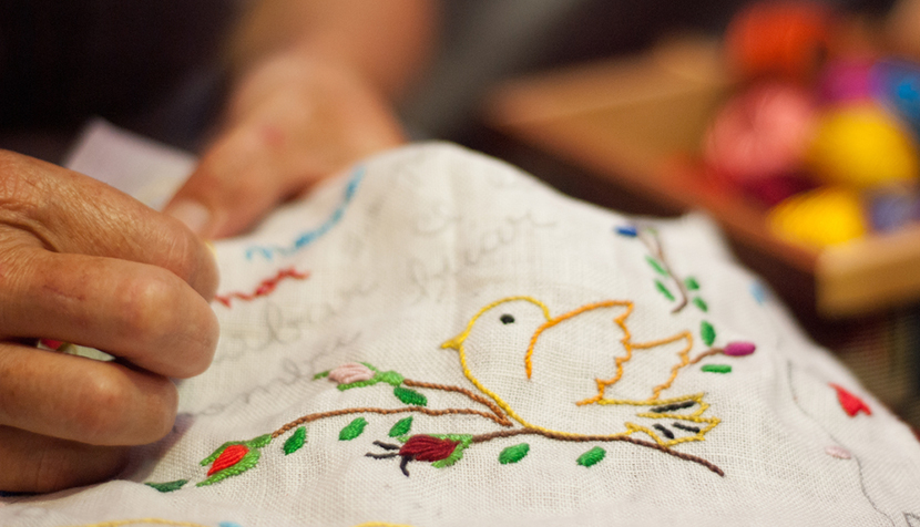 hand embroidery white cloth