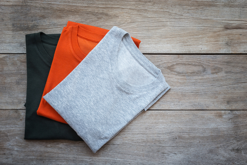 aerial view plain t shirts folded