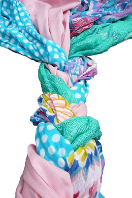 colorful fabric braided together