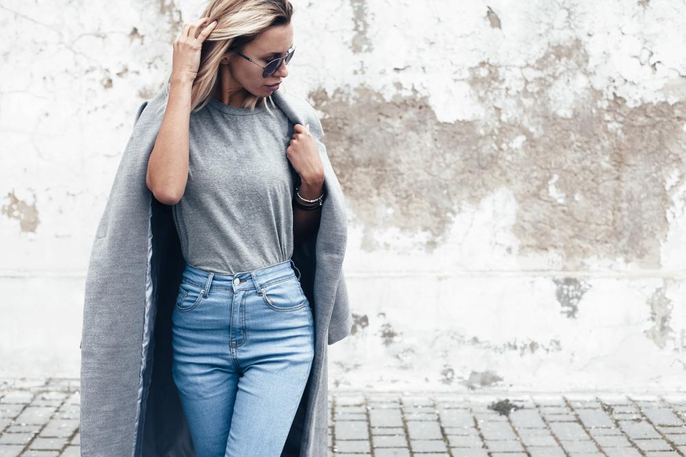 stylish woman gray t shirt jacket