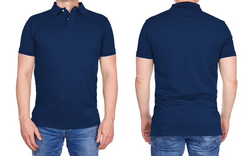 front back man wearing blue polo shirt