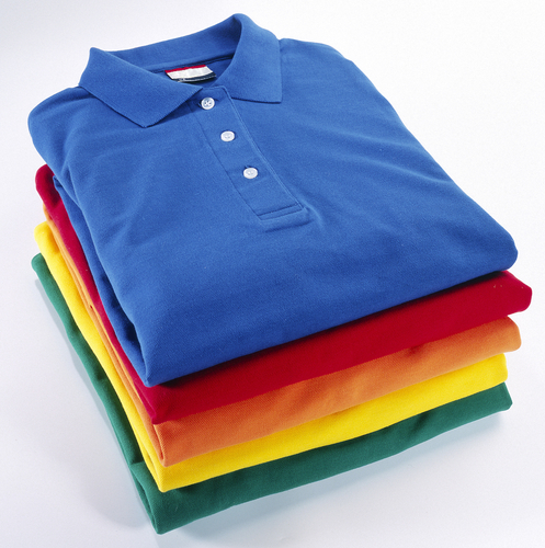 stack color polo shirts