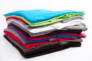 pile colorful t shirts