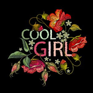cool girl flower embroidery