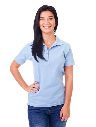 woman in blue polo shirt