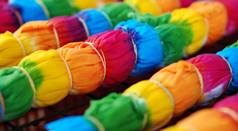 colorful tie dye on rack