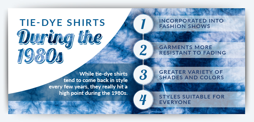 tie dye shirts during the 1980s graphic
