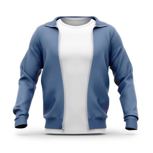 Men's hooded zip-up sweatshirt and t shirt with crew neck