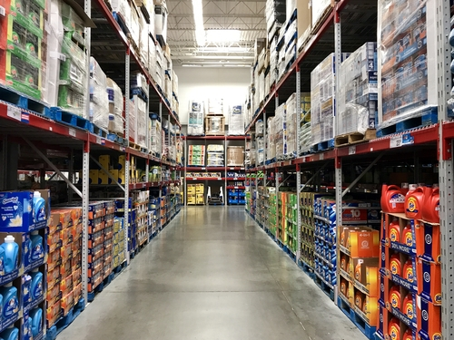 shopping aisles inside warehouse