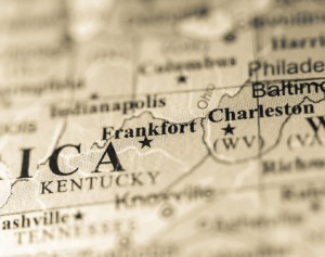 Closeup of Frankfort, Kentucky on a political map of USA