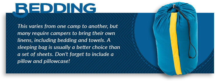 camping essential bedding graphic