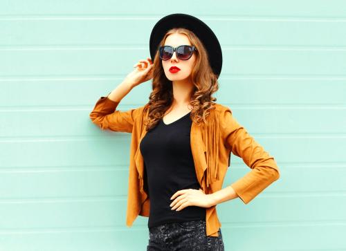 fashion portrait woman wearing black v neck