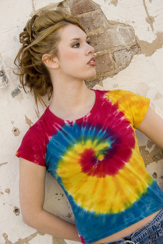 woman wearing tie die shirt