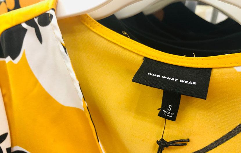 closeup of clothing tag