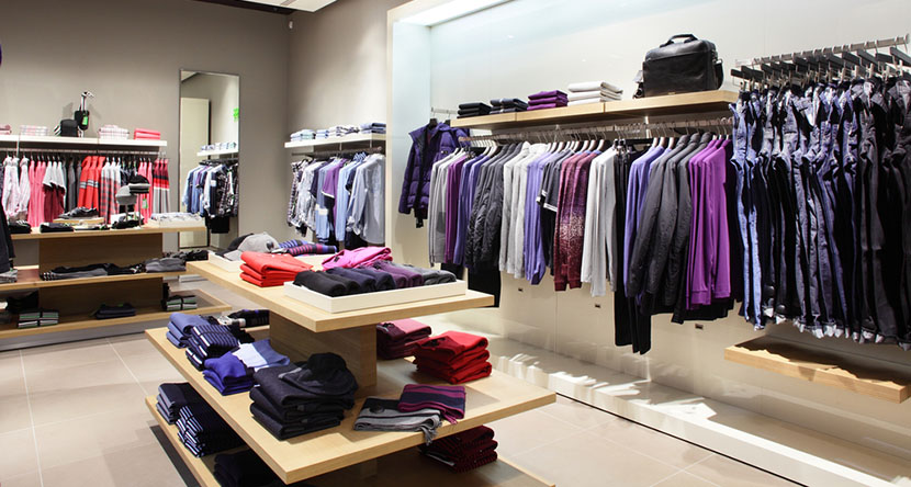 clothing store racks and shelves