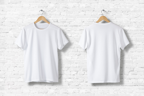front and back of white shirts