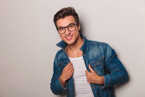 portrait of man wearing jean jacket