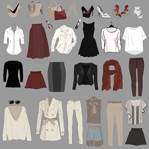 womans wardrobe items illustration