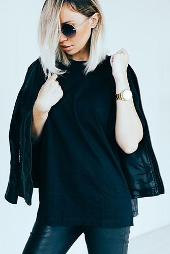 black t shirt jacket style