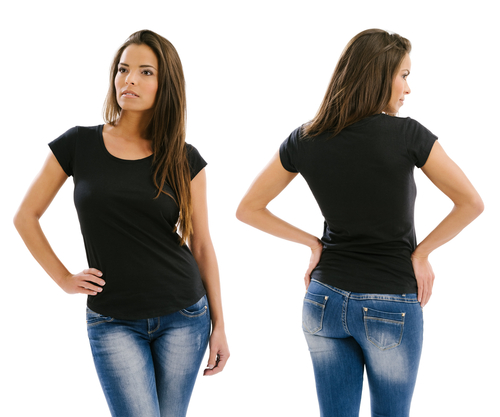 front and back view woman black t shirt
