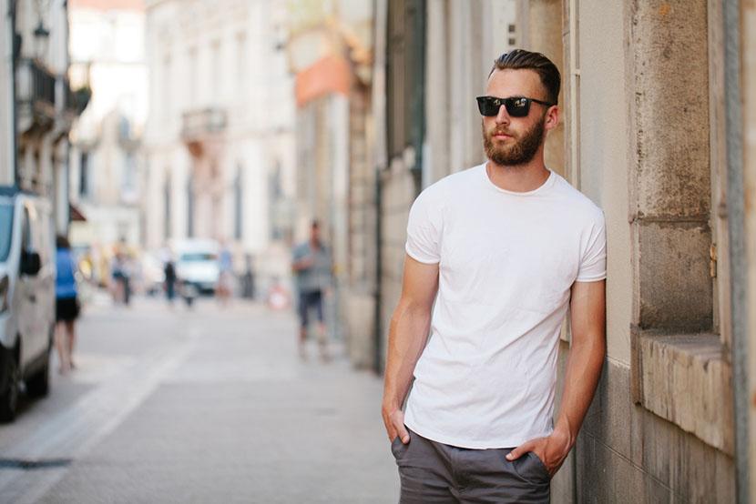 wearing sunglasses plain white t shirt