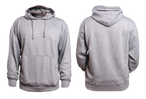 front and back of blank gray hoodie