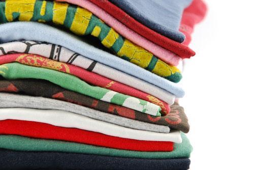 stack folded t shirts