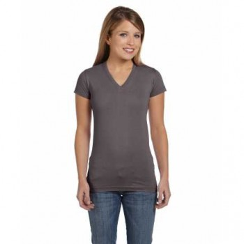 Charcoal Fitted V-Neck| Womens T-Shirt