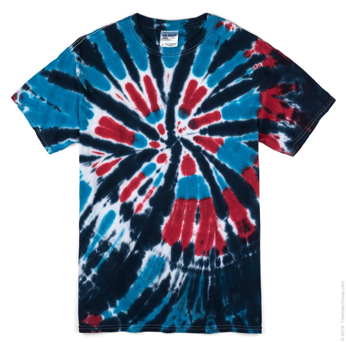 Americana Swirl Adult Tie Dye T-Shirt   The Adair Group