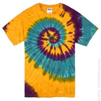 5f0011b190049 Mardi Gras Spiral Adult Tie Dye T-Shirt | The Adair Group