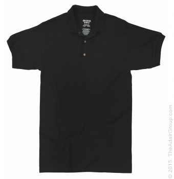 Black| Adult Jersey Knit Polo